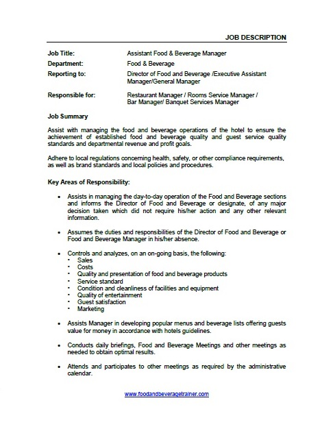 Chinese Restaurant Waiter Job Description