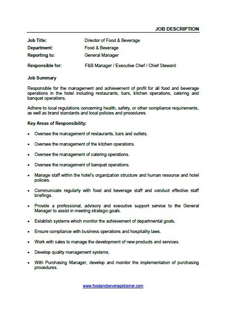 Operations Director Job Description | Beverage Director Job Description Thevillas Co