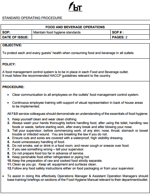 standard operating procedure for restaurant Your restaurant must have written standard operating procedures for safe food handling health regulations require it an overall sop that covers all aspects of your.