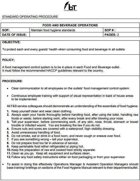 SOP - Food and Beverage Trainer